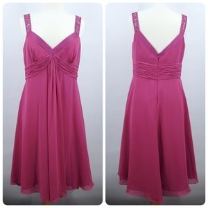 David's Bridal Pink Chiffon Formal Dress 14